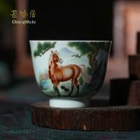 Changwuju in Jingdezhen Cups & Saucers chinese tea cup the handmade porcelain Kung Fu tea bowl celadon painted by Jinhongxia