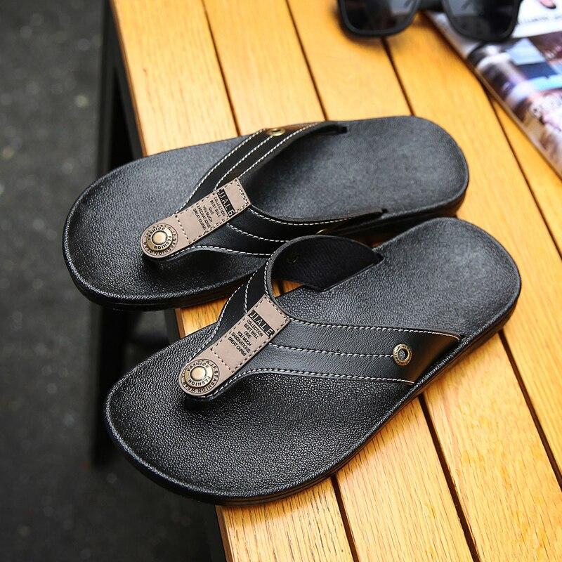 2dca2771def7e Summer Men s Casual Slippers Indoor Outdoor Bathroom Flip Flops Men Beach  Slippers Printed Flat Sandals