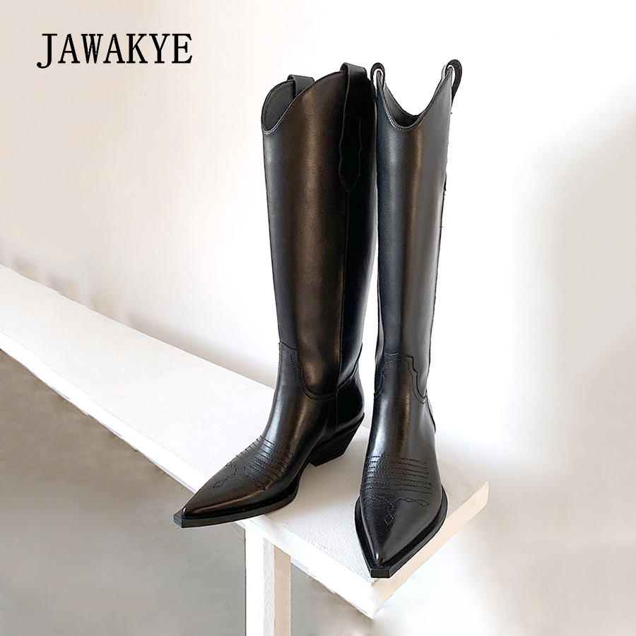 JAWAKYE New Genuine Leather Pointed Toe Knee High Boots Women Square Kitten Heels Female Winter Long Boots Cowboy Knight Boots