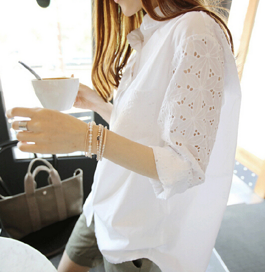 2016 Spring New Women Fashion Lace   Shirt   Blusas Casual Loose Chiffon Floral   Blouse     Shirts   Elegant White   Shirt   Tops