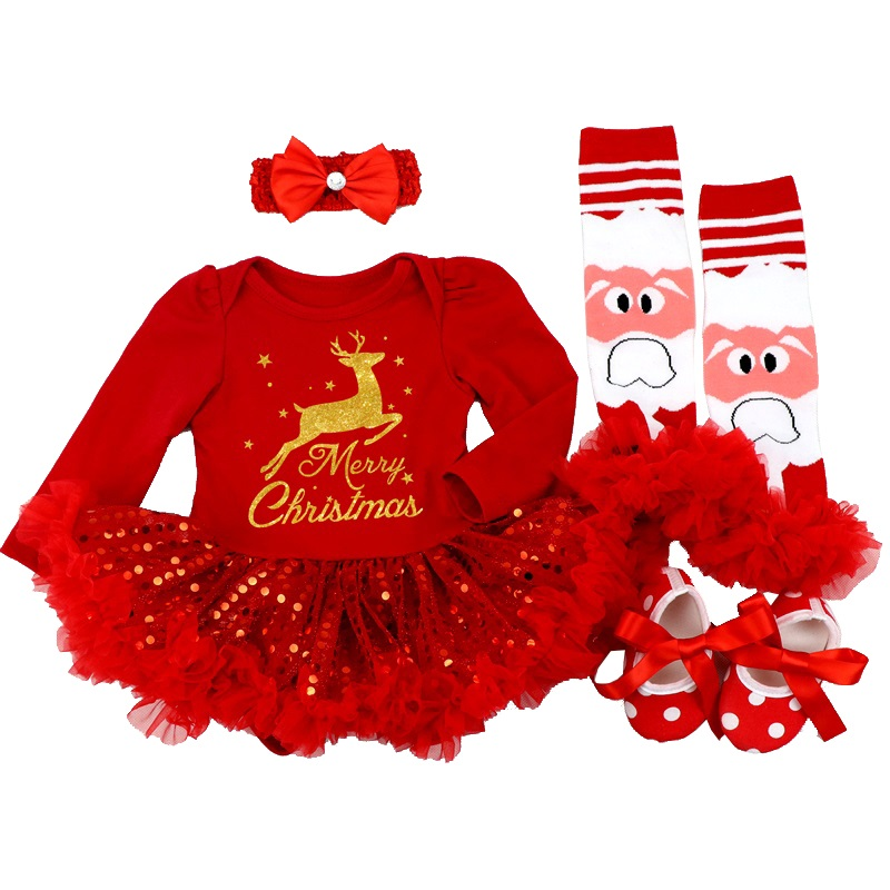 Christmas 2019 Newborn Minnie Dress 4pcs/set Baby Girls Clothes Toddler Girl Clothing Set Infant Minnie Mouse Costume Xmas Gifts