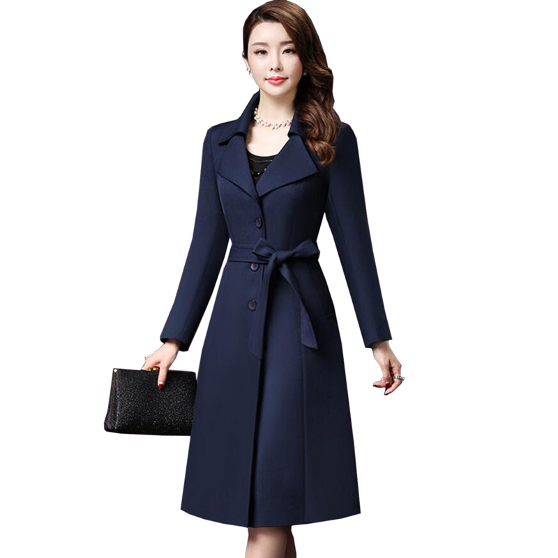 Women   Trench   Coat 2018 Autumn winter Fashion Plus Size   Trench   Coats Female Casual Temperament Beautiful Windbreaker Outwear