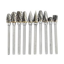 Electric accessories grinding 10pcs 0.12 * 0.24 inch tungsten milling cutter Rotary Burr Set CNC engraving Tool steel