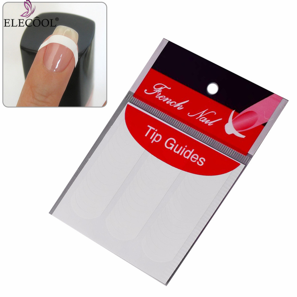 ELECOOL 5 Sheet Strip Nail Art Form Fringe Guides Water Transfer Sticker DIY Line Tips White Nail Decal French Manicure TSLM1