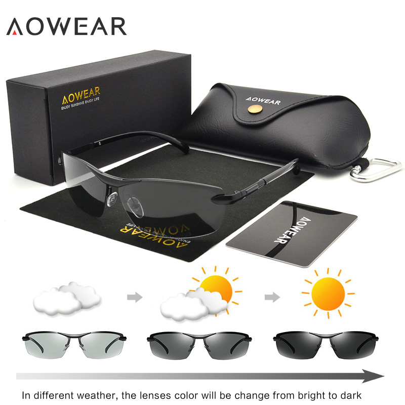 AOWEAR Driving Polarized Photochromic Sunglasses Men Chameleon Glasses Men Sunglasses Driver Goggles oculos lentes de sol hombre