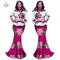 BRW Sistemas de La Falda de Las Mujeres Falda de La Impresión de la Cera Africana Bazin Riche Africano y África Superior de Algodón 2 Unidades Set Flores Ruffles Top WY1081