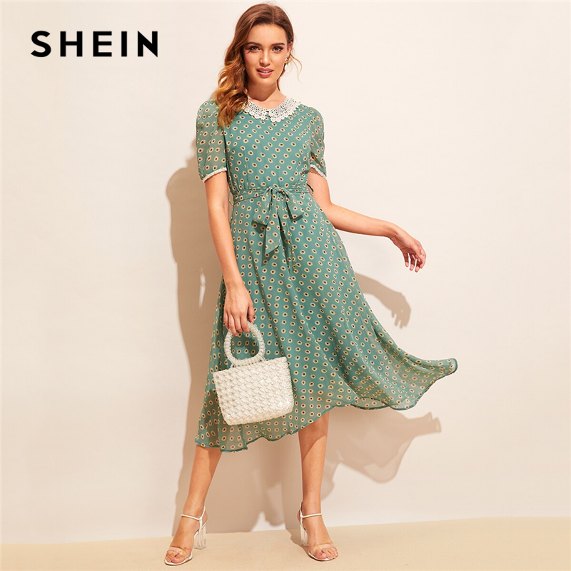 SHEIN Allover Sunflower Print Lace Trim Belted Dress 04190411428