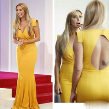 Helle Yellow Prom Kleider Tiefem V-ausschnitt Falten Capped Sleeve Nixe-abschlussball Kleider Hohl Zurück Formale Party Kleider Prom Kleider günstige