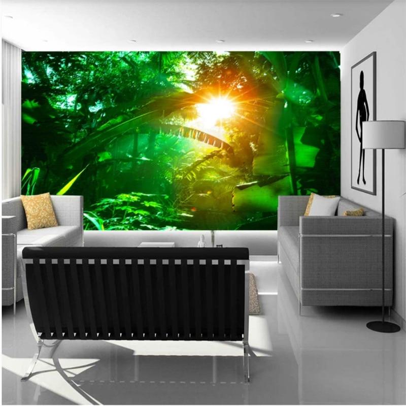 Green Forest Rainforest Plant Tv Background Wall Wallpaper Mural for Wall Photo Wallpaper Nature Home Improvement Home Improvement