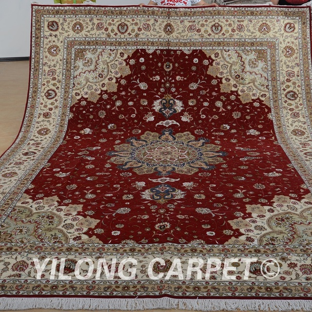 Yilong 9 X12 Oriental Large Area Wool Rug Handmade Exquisite Turkish Carpet For