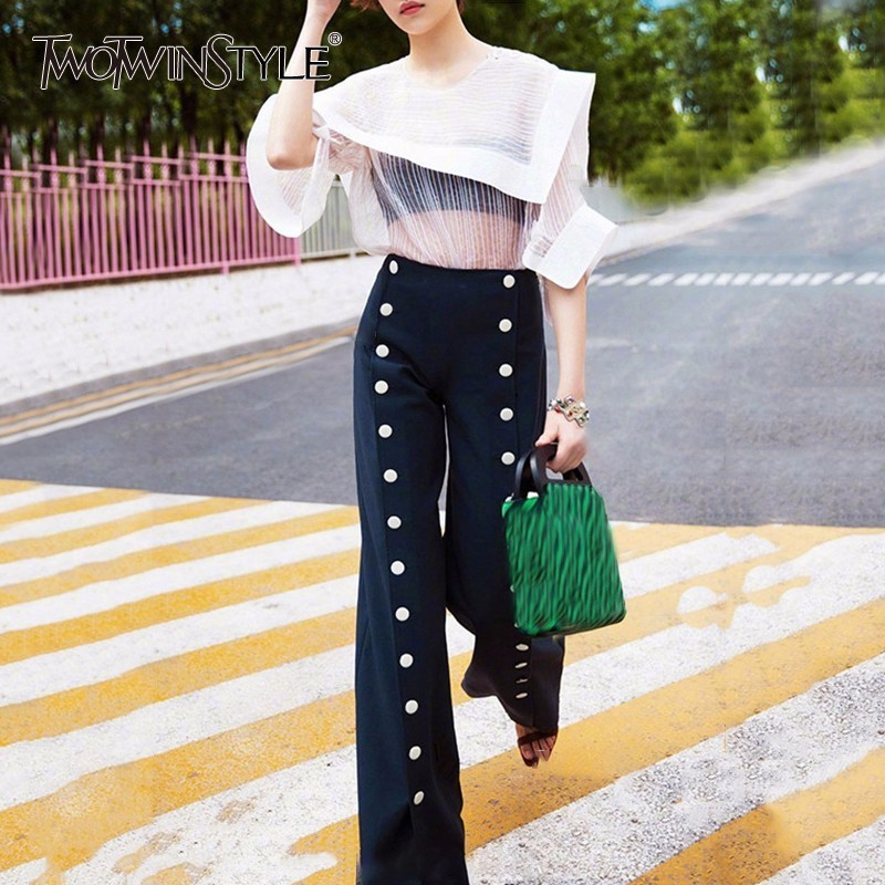 TWOTWINSTYLE OL Woman   Pants   High Waist Button Patchwork Zipper Long   Wide     Leg     Pants   Summer Fashion Female Elegant Trouser Clothes