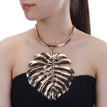 JEROLLIN Fashion Chokers Necklace Big Metal Leaf Pendant Statement Collar Chokers Necklace Women Wedding Jewelry Wholesale недорого