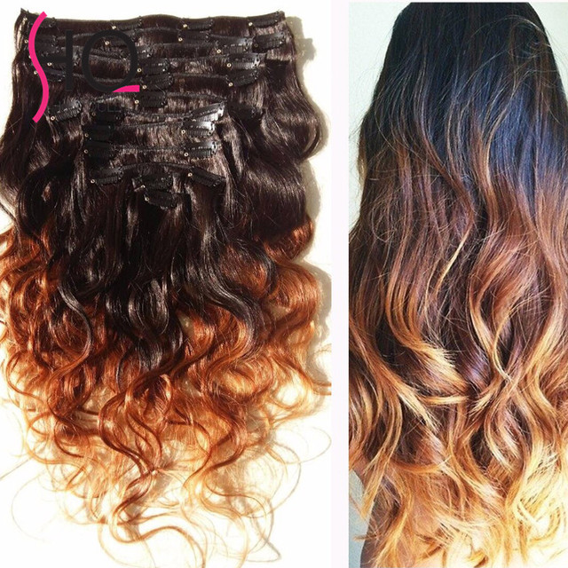 Free SHipping 7A Dye Ombre Hair Weft Clip In Human Extensions Wavy Black To Brown
