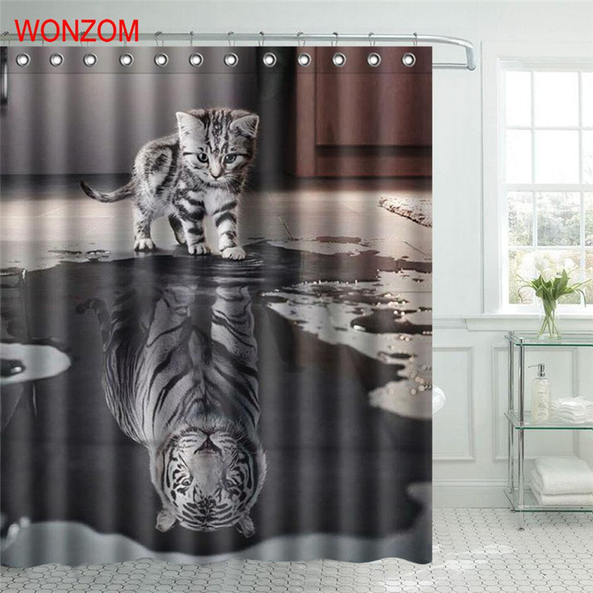 Wonzom Polyester Fabric Tiger Cat Shower Curtain Orangutan
