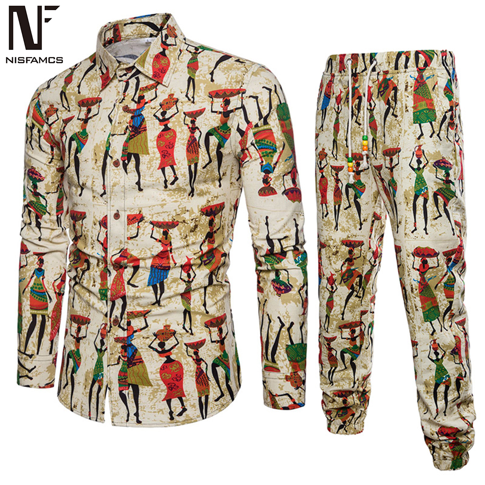 Ethnic Festival Wear Men Tracksuit Business Man Casual Travel Set Long Shirt Long Pants Male Turn-down Collar Shirt Novelty 2019