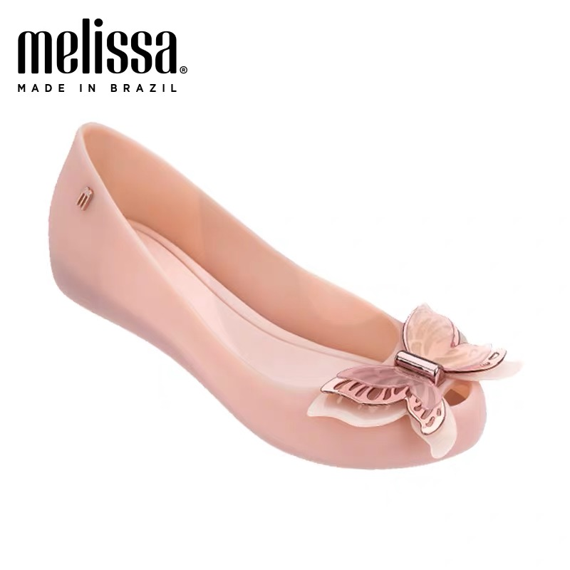 Melissa 3D Bowtie 2019 New Women Flat Sandals Brand Jelly Melissa Shoes For Women Solid Sandals