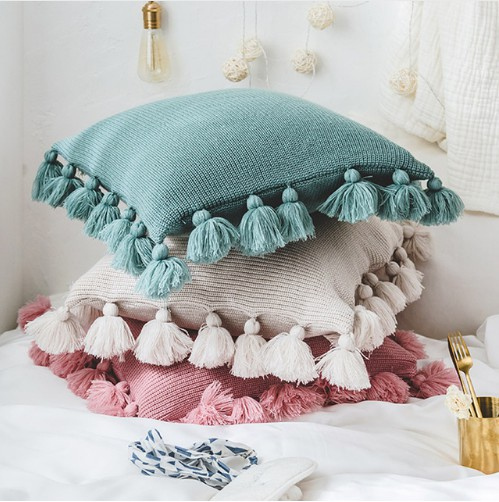 Baby Pillow Decorate Kids Baby Room Decor Knitted Crochet Cushion Cover Pompom Throw Pillow Covers Infant Room Decoration 45*45