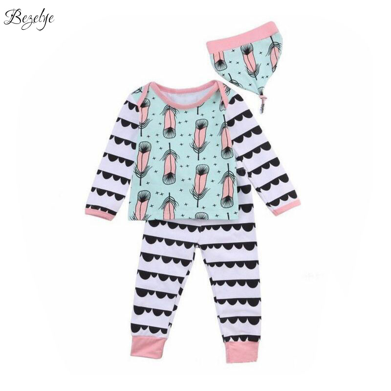 Feather Printing Girl Clothes Set 2017 Fashion Toddler Girl Clothing Cotton Girls Boutique Outfits the Suit for Baby Children