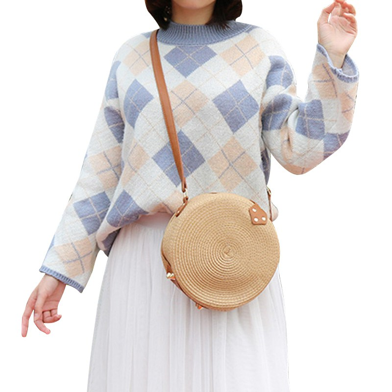 Fashion luxury handbags women bags designer Beautiful Round Shape Women Crossbody Bag Retro Style Straw Woven Messenger Bag in Shoulder Bags from Luggage Bags