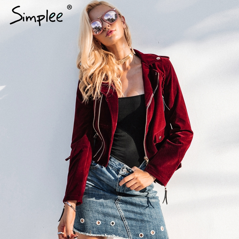Simplee Velvet zipper jacket coat women Cool wine red motorcycle jacket 2017 new fashion winter jacket women outerwear & coats