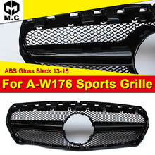 Fits For MercedesMB W176 AEAMG Style grille grill Sport  look A-Class A180 A200 A250 A260 Front bumper grille ABS Black 2013-15 for 02 05 dodge ram black sport billet front hood bumper grill grille frame abs usa domestic free shipping hot selling