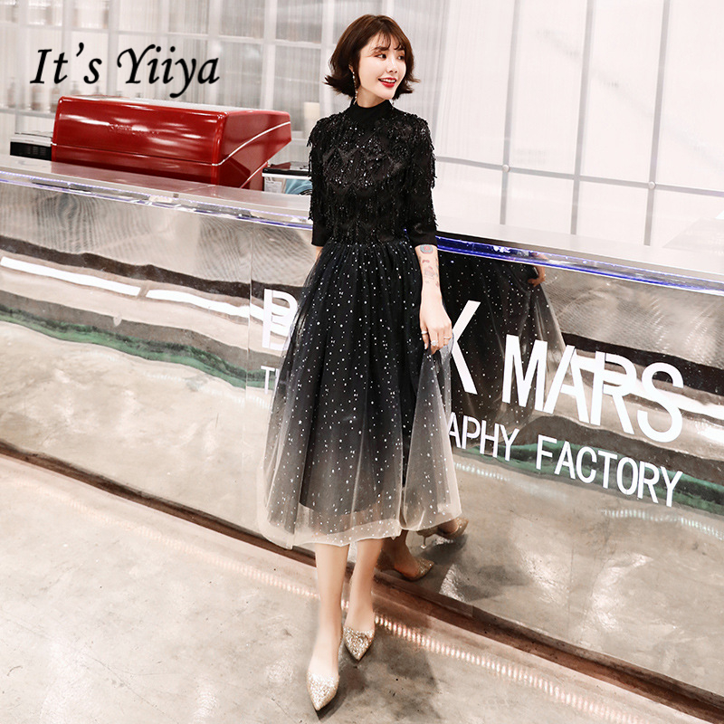 It's YiiYa   Cocktail     Dresses   Elegant Turtleneck Beading Party Gowns Lace Illuesion Sequined Zipeer Back Formal   Dress   E389