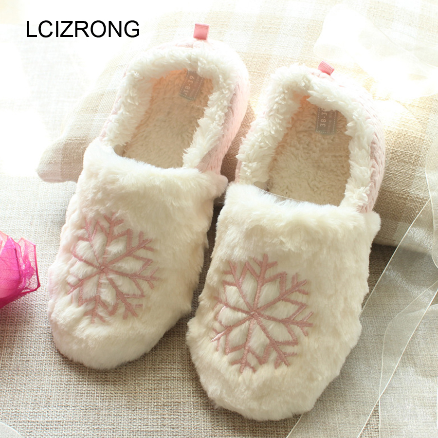 LCIZRONG Cotton Snowflake Embroider Plush Home Slippers Women Cute Sweet Soft Warm Lady Slippers Non-slip Family Slippers Winter игровые наборы игруша набор sweet family home