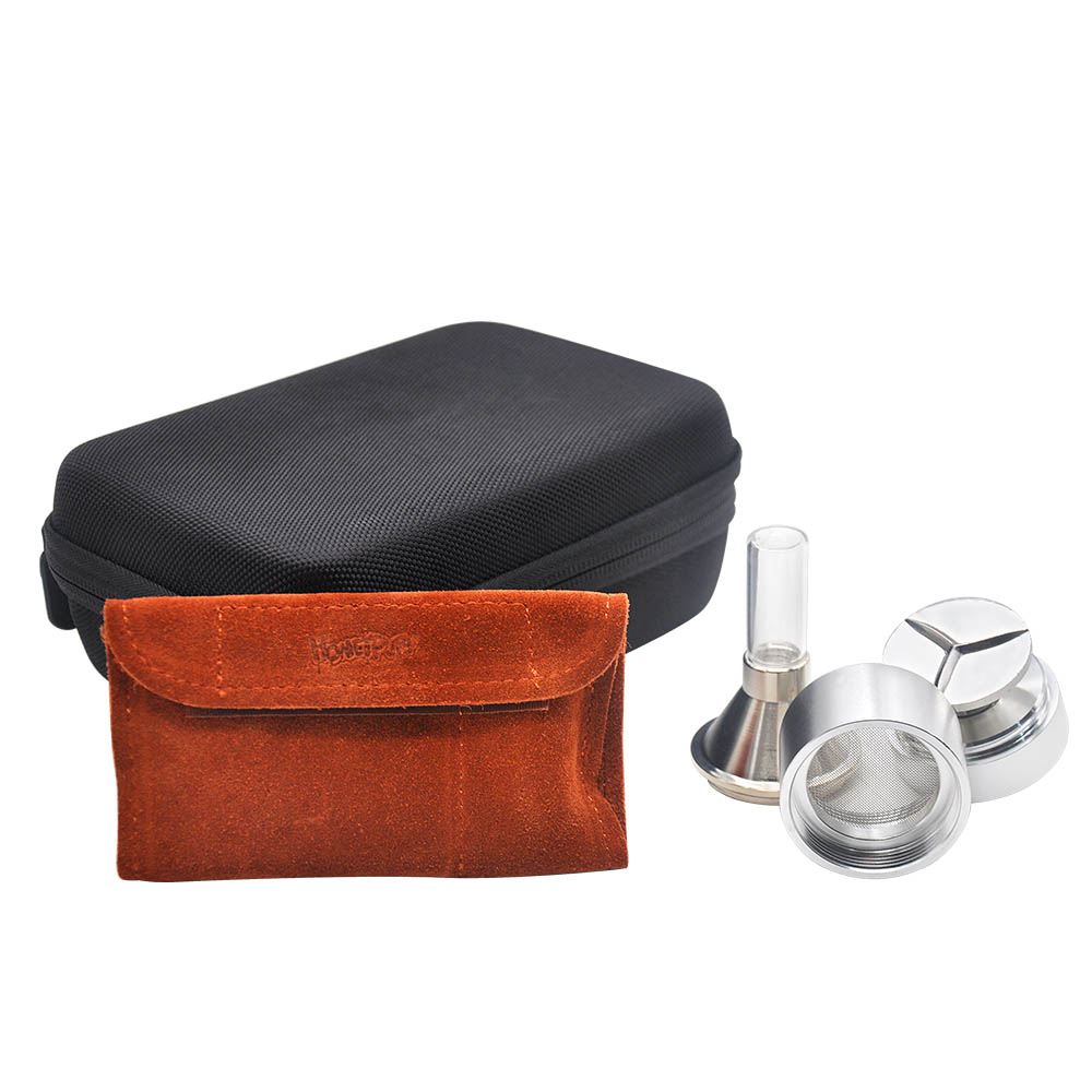 Image 4 - HORNET Snuff Snorter PU Leather Pouch Glass Pill Bottle Aluminum Tobacco Stash Jar Metal Spice Grinder Metal Snuff Snorter Spoon-in Tobacco Pipes & Accessories from Home & Garden