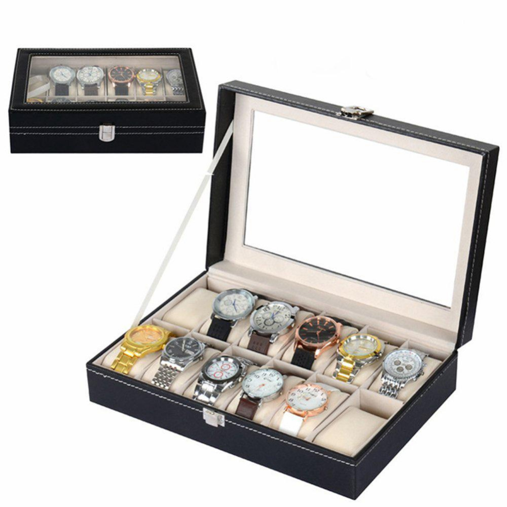 12 Slots Grid PU Leather Watch Display Box Jewelry Storage Organizer Case 5 grid multi function storage box transparent