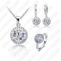 Top Quality Exquisite Women Wedding Necklace Earring Ring Jewelry Set 925 Sterling Silver Platinum Plated Swiss