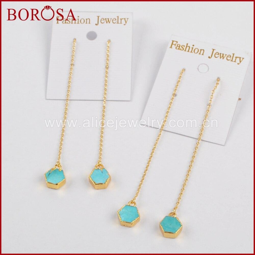 Borosa Hexagon Druzy 100% Natural Blue Howlite Gold Color Threader Earrings  For Women, Fashion