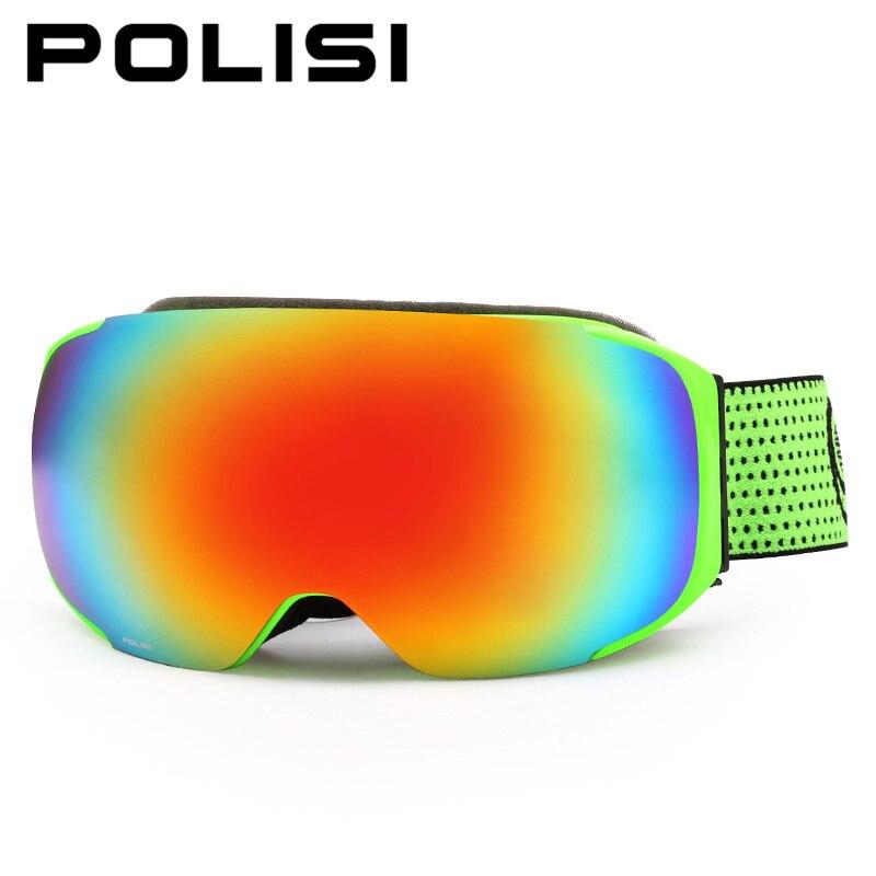 Polisi invierno esquí snowboard gafas reemplazables 2 lente anti-vaho gafas muje