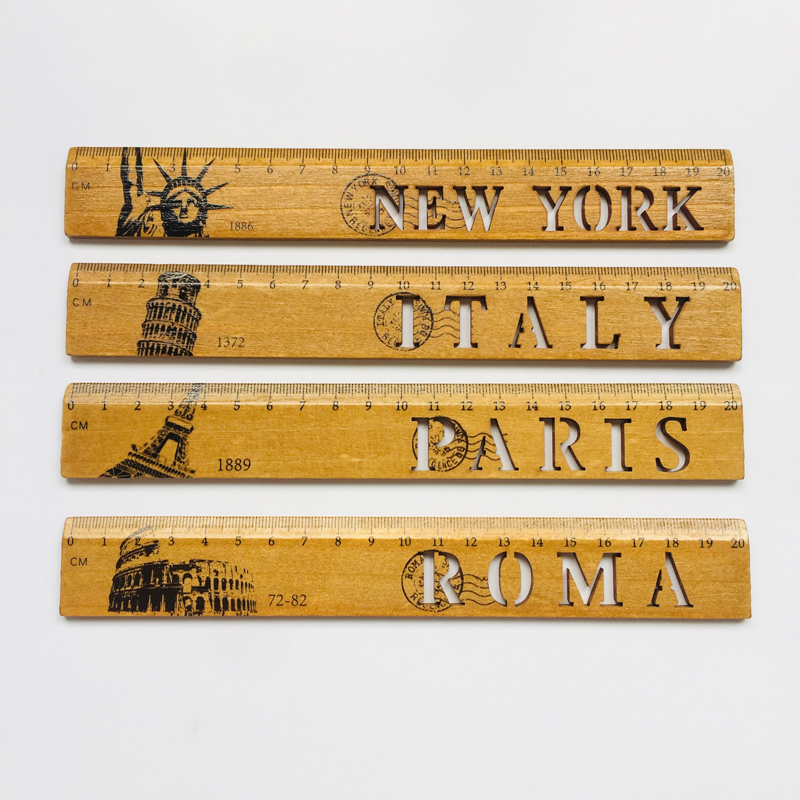 1X New York Roma Italy Paris Country Wooden Straight Measrure Ruler  Student Stationery