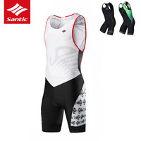 Santic Cycling Jersey Men Pro Team Triathlon Skinsuit Sleeveless One piece Racing Bicycle Jersey Maillot Ciclismo M7C03013