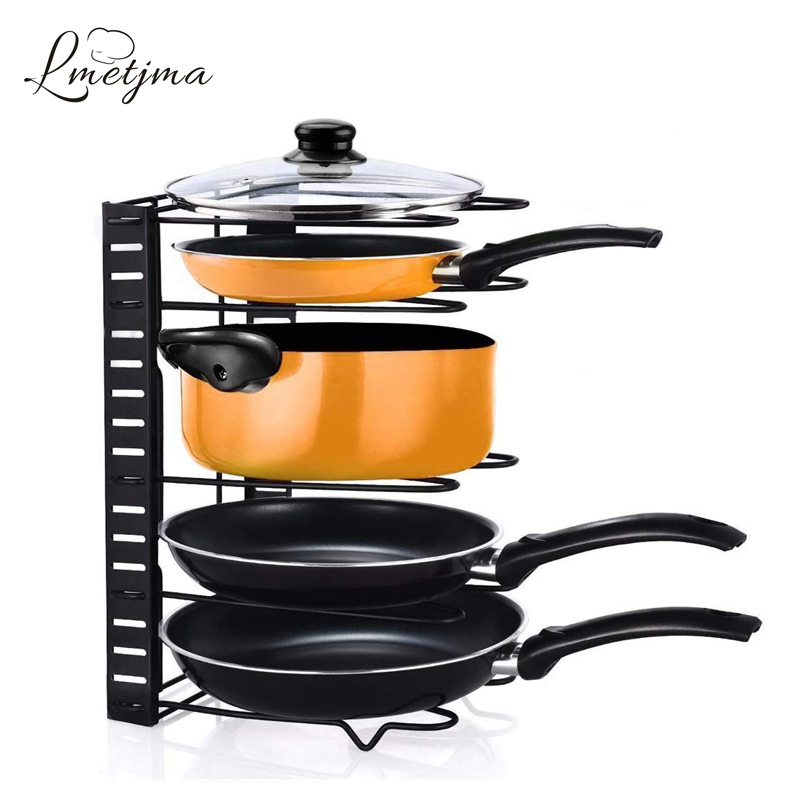 LMETJMA Adjustable Pan Organizer Rack Pot Lid Holder Folding Cookware Bakeware Chopping Board Organizer Shelf Rack KC0221