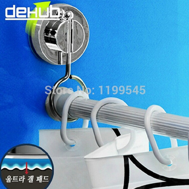 Vacuum Super Suction Cup Bathroom Rack Shower Curtain Rod Hanging Ring DEHUB Rods Stand Strong Cornices
