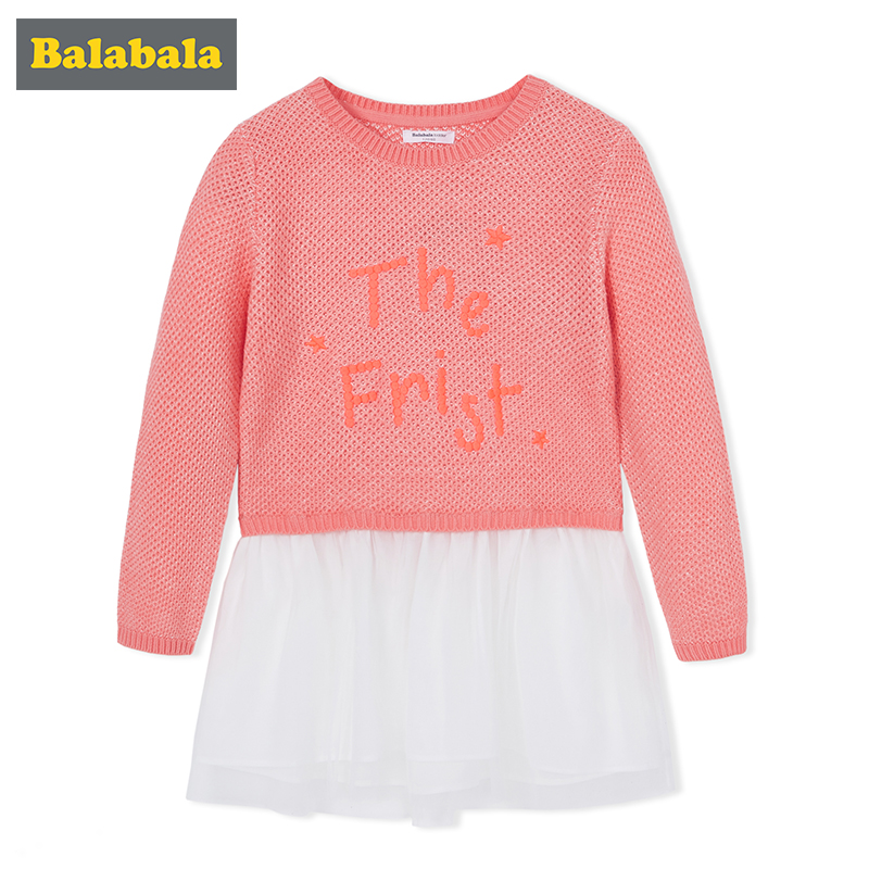 balabala Princess Costume dresses 2018 Brand cotton clothes Girls Tunic Dress Kids Clothing long sleeve Children Dresses