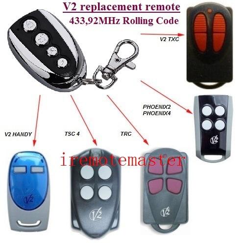 V2 PHOENIX 2, 4, V2 TSC2, TSC4, V2 TRC2, TRC4, TXC2, TXC4, HANDY2, HANDY4 433.92MHz Rolling Code replacement remote v2