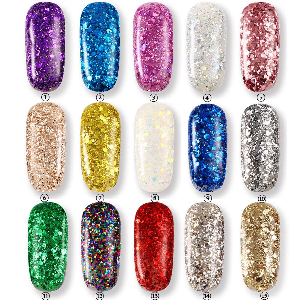 KCE Langdurige Super Bling Candy Kleur 3D Diamond Glitter UV Gel ...