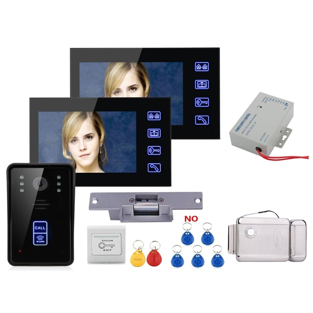 Home Security 7 Inch Video Door Phone Doorbell Intercom Kit Security Camera Intercom System 1-camera 1-monitor Night Vision+Lock