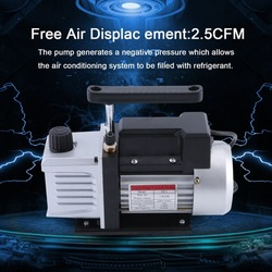 (Ship From DE)2.5CFM 1/4HP Powerful Single Stage Vacuum Pump Suitable For Refrigeration Air Conditioning Systems EU Plug