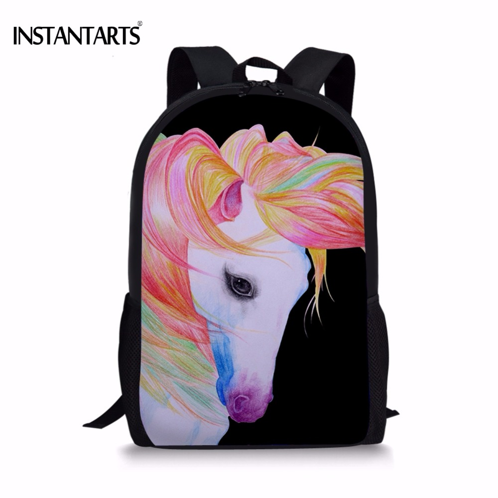 INSTANTARTS Colorful 3D Horse/Horse Printed Boys Girls School Bags Casual Children Bookbags Primary School Students Shoolbags