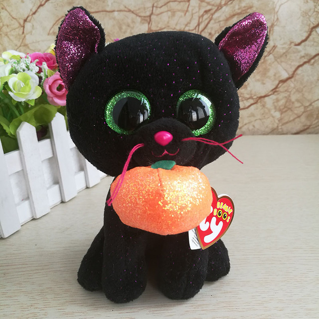 6b6bca7af8b Ty beanie boos collection Black Cat with pumpkin plush toy Potion 15 cm 6  inch girl s