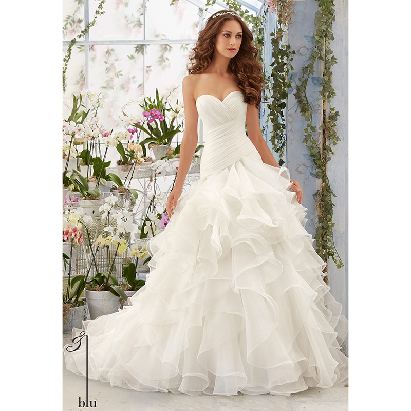 Sweetheart Lace Wedding Dress: Simple Wedding Dresses Sweetheart Ruched Tiered Organza