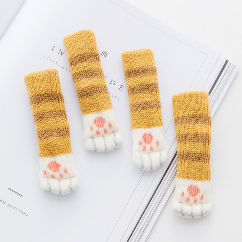 4pcs Knitting Cat Style Chair Leg Socks Home Furniture Leg Floor Protectors Non-slip Table Legs cover prevent cat scratching 1