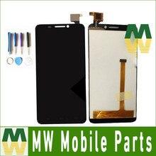 1 PC/Lot Color Negro Para Alcatel One Touch Ídolo 6030 6030D 6030X 6030A OT6030 OT6030A Pantalla LCD + Pantalla Táctil con herramientas