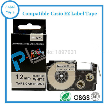 10 pcs/lot  free shipping compatible label tape XR-12WE1 cartridge 12mm black on white XR-12WE1