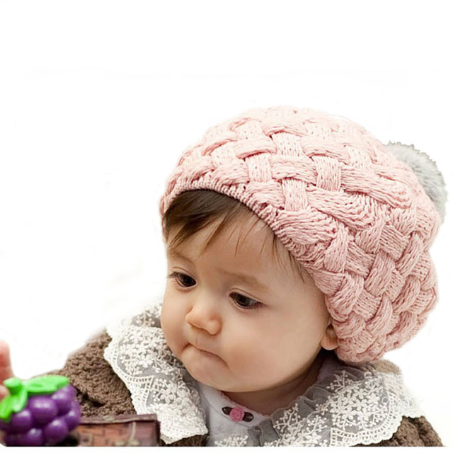 bed0d9cf276 Infant Baby Boy Girls Berets Hat Hand Made Knitted Crochet Wool Children Beanie  Cap Winter Kid Hats with Pom Pom Red Pink Beige