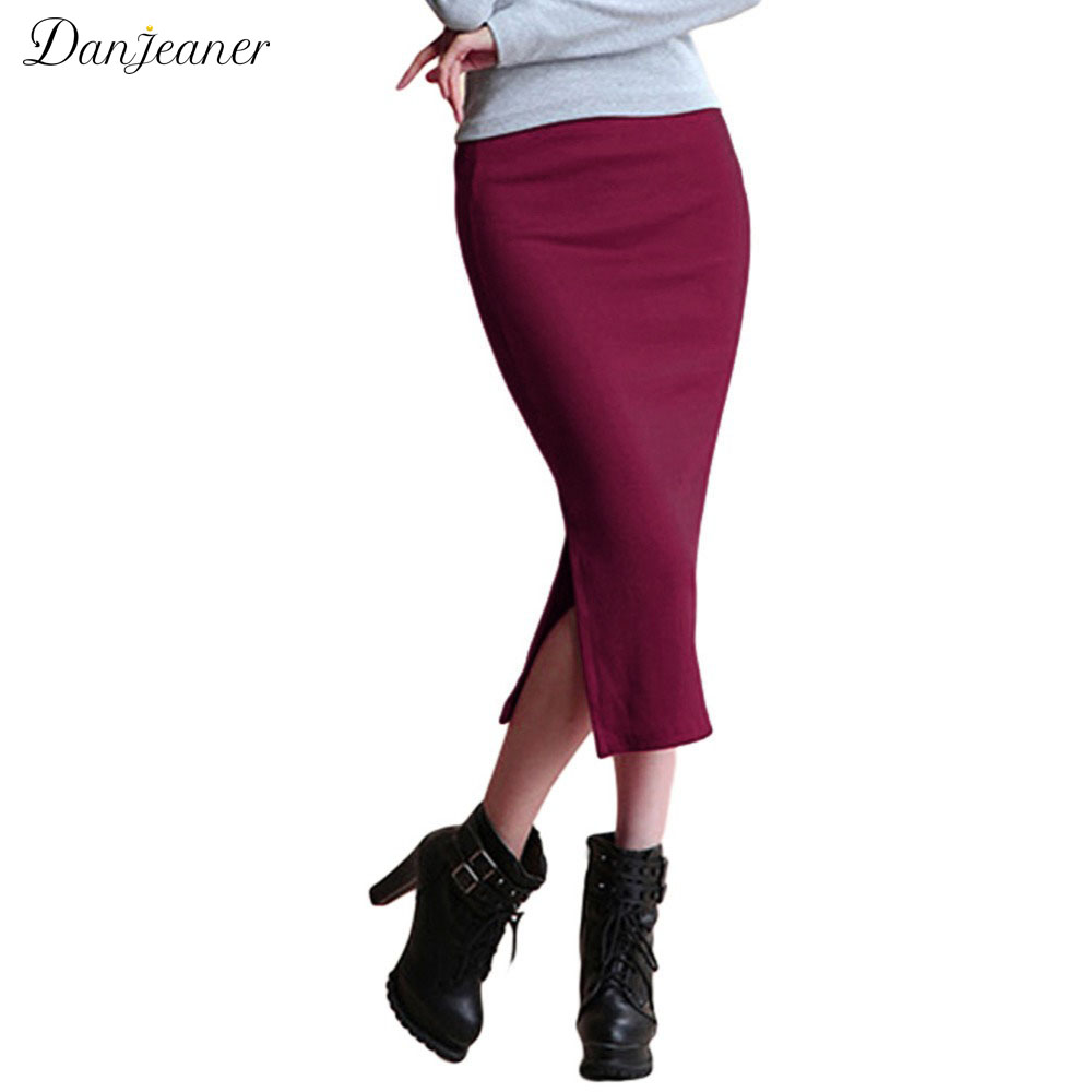 Danjeaner 2017 Autumn Winter Wanita Slim Split Long Skirts Pinggang Tinggi Rajutan Kapas Pensil Skirt Super Elastic Maxi Skirts
