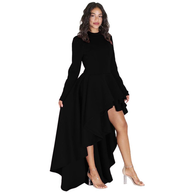 a2cb6fbf20e 2108 Women Long Sleeve High Low Peplum Dress Bodycon Casual Party Club Dress  Ms. air layer long-sleeved lotus leaf
